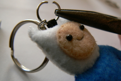 How to sew a fabric character charm. Adventure Time Keyrings - Step 21