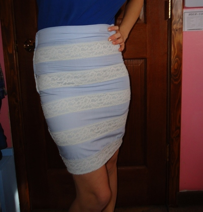 How to make a pencil skirt. Blue Lace Pencil Skirt - Step 2