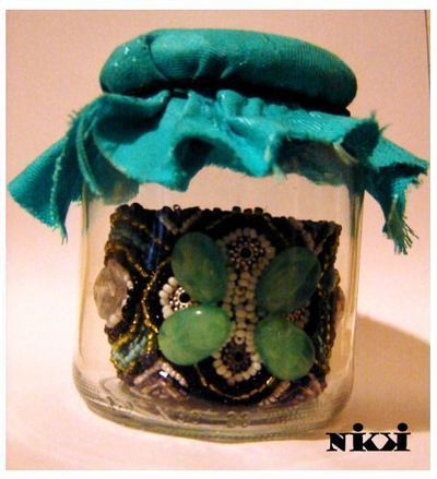 How to make a fabric cuff. Bead Embroidery Bracelet In Green, Blue, White And Black - Step 7