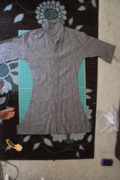 How to recycle a shirt into a dress. Men's Shirt Refashion - Step 1