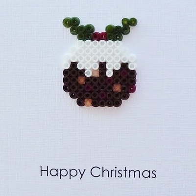 How to make a beaded card. Hama Bead Christmas Pudding Cards - Step 4