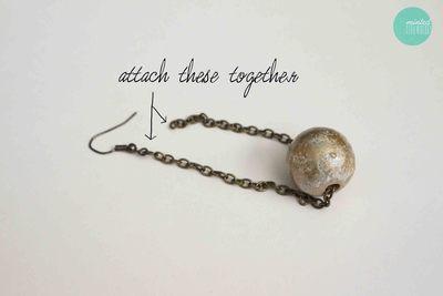 How to make a pair of chandelier earrings. Diy Gilded Ball Drop Earrings - Step 5
