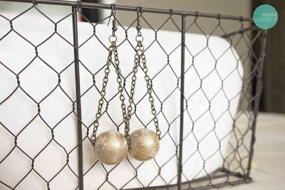 How to make a pair of chandelier earrings. Diy Gilded Ball Drop Earrings - Step 6
