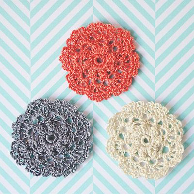 How to stitch a knit or crochet brooch. Crochet Doily Brooch - Step 1