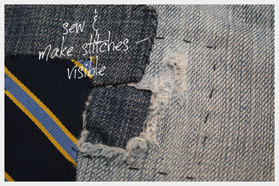 How to sew a pair of patched jeans. Diy Patched Jeans - Step 4
