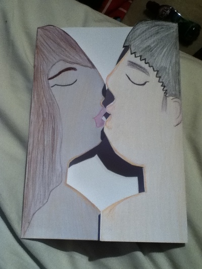 How to make a pop up card. Kissing Card - Step 3