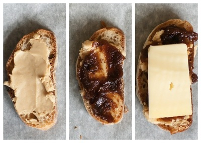 How to bake a cracker. Cb&J: Cashew Butter, Fig Jam And Cheese Crostini - Step 2