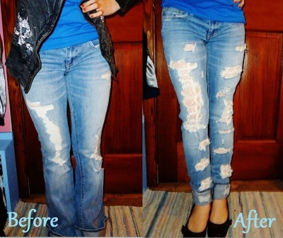 How to sew a pair of skinny jeans. Lace Skinny Jeans - Step 2