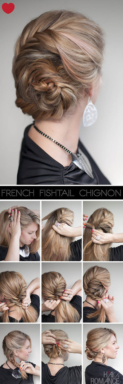 How to style a French braid. Hairstyle How To   French Fishtail Braid Chignon - Step 1
