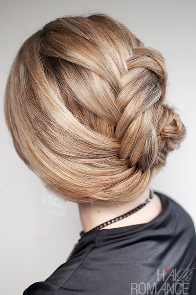How to style a French braid. Hairstyle How To   French Fishtail Braid Chignon - Step 2