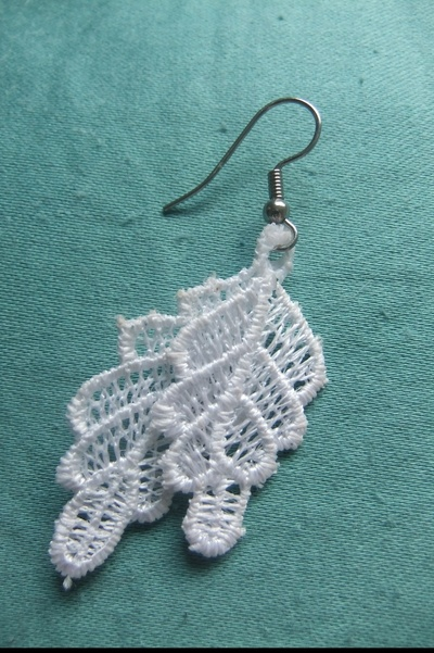 How to make a pair of lace earrings. Lace Earrings - Step 4