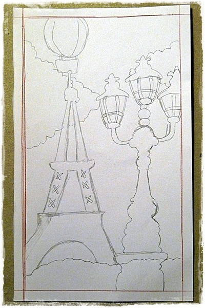 How to make a piece of book art. Paris Book Impression - Step 2