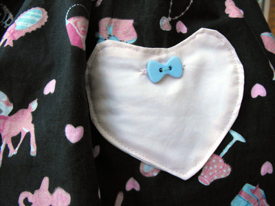 How to make a skirt. Heart Patch Pockets - Step 11