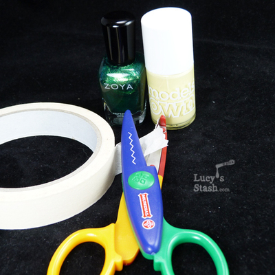 How to paint patterned nail art. How To Do A Zig Zag Nail Art Using Tape And Craft Scissors - Step 1