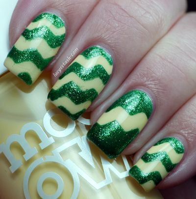 How to paint patterned nail art. How To Do A Zig Zag Nail Art Using Tape And Craft Scissors - Step 6