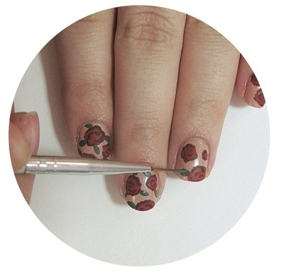 How to paint patterned nail art. Vintage Rose Nails - Step 4
