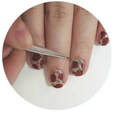 How to paint patterned nail art. Vintage Rose Nails - Step 5