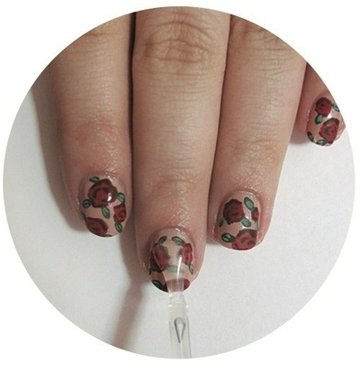 How to paint patterned nail art. Vintage Rose Nails - Step 6