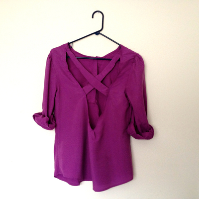 How to make a revamped top. Diy Cross Back Shirt - Step 10