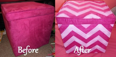 How to make a stool. Chevron Painted Ottoman - Step 2