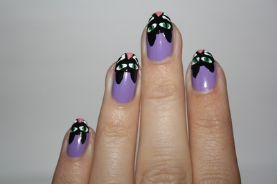 How to paint an animal nail. Crazy Cat Woman Nails - Step 6