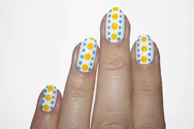 How to paint patterned nail art. Polka Dot Power Nails - Step 3