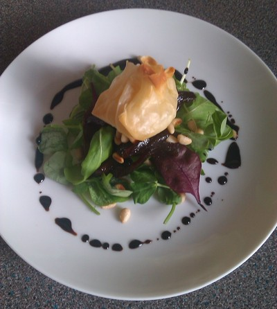 How to bake a pie. Goats Cheese Filo Parcel With Balsamic Reduction And Caramelised Red Onion Chutney - Step 4