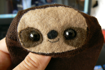 How to make a sloth plushie. Sock Sloth - Step 9