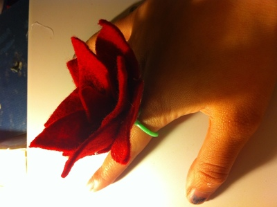How to make a fabric ring. Felt Flower Ring - Step 7