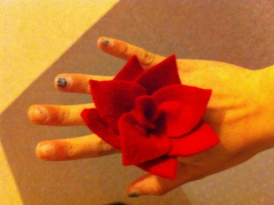 How to make a fabric ring. Felt Flower Ring - Step 8