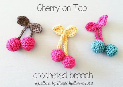 How to stitch a knit or crochet food brooch. Cherry On Top Crocheted Brooch - Step 1