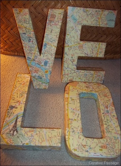 How to make a letter. Map Covered Love Letters - Step 8
