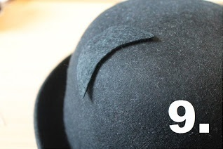 How to make an animal hat. Bowler Hat With Cat Ears! - Step 9