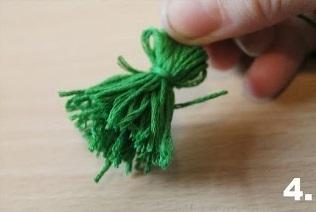 How to make a ribbon charm. Pompom Keyring - Step 12