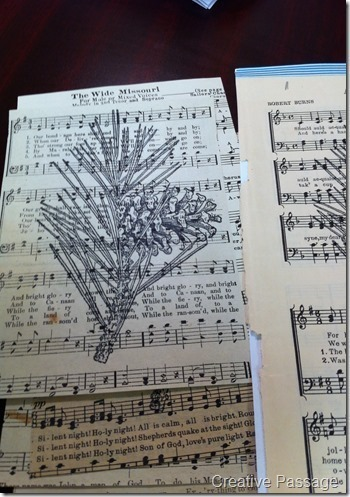 How to make a recycled card. Sheet Music Christmas Cards - Step 6