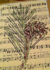 How to make a recycled card. Sheet Music Christmas Cards - Step 12