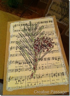 How to make a recycled card. Sheet Music Christmas Cards - Step 13