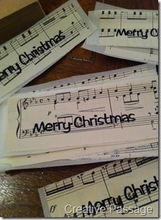 How to make a recycled card. Sheet Music Christmas Cards - Step 15