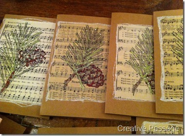 How to make a recycled card. Sheet Music Christmas Cards - Step 16