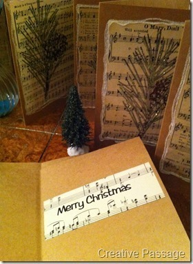 How to make a recycled card. Sheet Music Christmas Cards - Step 14
