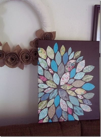 How to create a drawing or painting. Paper Scraps Flower Wall Art - Step 10