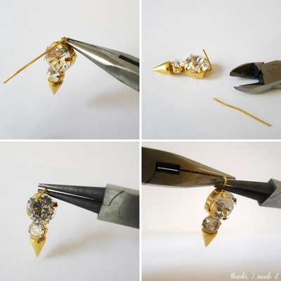 How to make a spike necklace. Diy Crystal Spike Necklace - Step 8