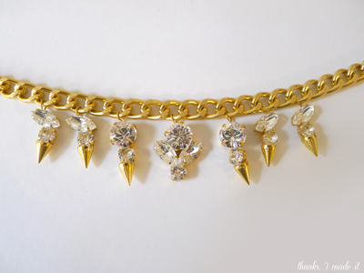 How to make a spike necklace. Diy Crystal Spike Necklace - Step 10