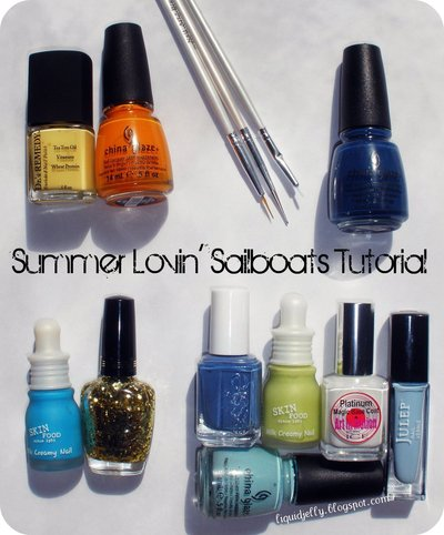 How to paint a themed nail manicure. Sailboat Nails - Step 1
