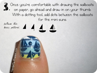 How to paint a themed nail manicure. Sailboat Nails - Step 7