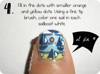 How to paint a themed nail manicure. Sailboat Nails - Step 8