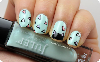 How to paint an animal nail. Spring Kitty Nail Art - Step 1