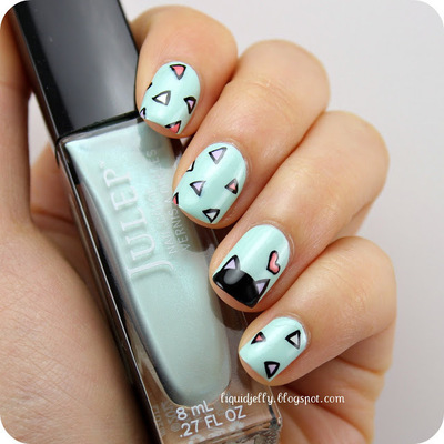 How to paint an animal nail. Spring Kitty Nail Art - Step 2