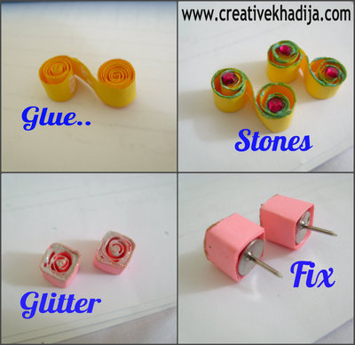 How to make a set of paper earrings. Diy Paper Quilled Earrings - Step 1