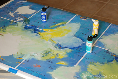 How to make a painted table. Diy Painted Map Table - Step 5